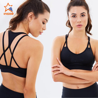 China wholesale bulk custom made blank/ plain dri fit supports strappy sexy padded youth mesh women sports bra top yoga design