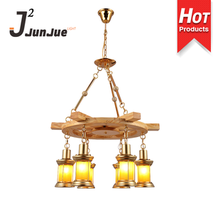 Home indoor lighting wooden frame fancy industrial hanging pendant light restaurant coffee shop 6 head iron chandelier lamp