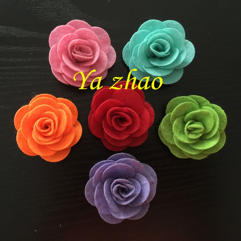 New Style 2'' Felt Fabric Rose Flower For Kid's Headbands Dress Hats 12 color IN STOCK