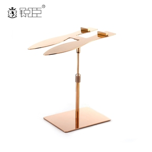 Good Quality Adjustable Stand Rose Gold Metal Shoe Display Rack For Store