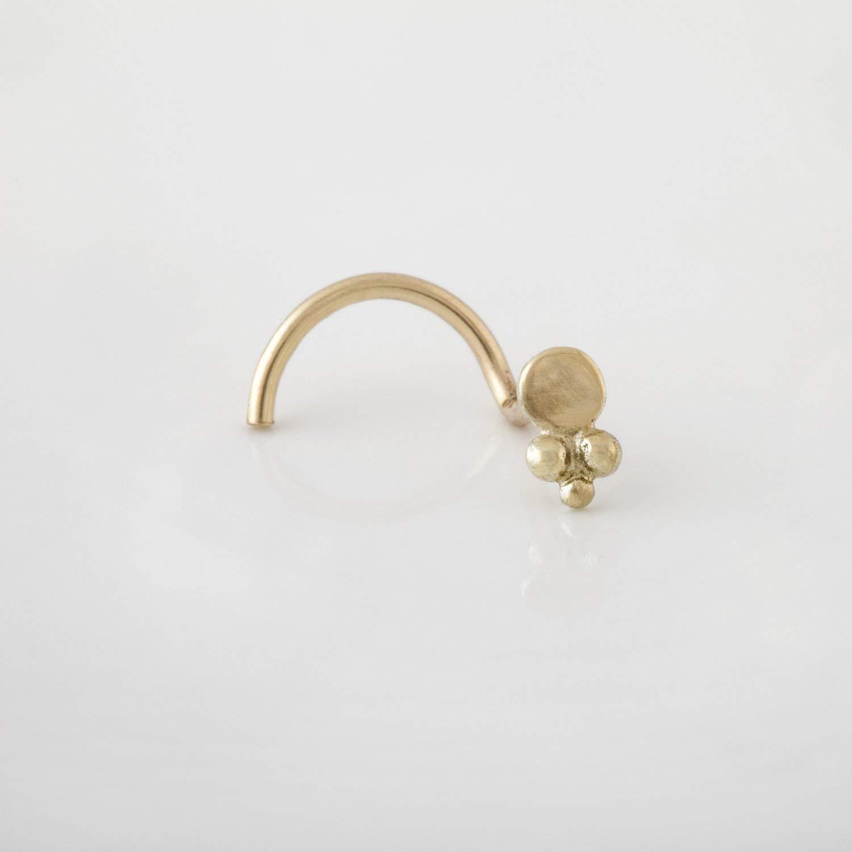 Nose Stud, 14K Gold Nose Piercing, Tribal Tiny Gold Nose Pin, Lotus Stud Piercing/Earring for Ear Lobe, Nostril, Tragus, Helix or Cartilage, Handmade Designer Piercing Jewelry