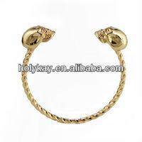 Charming gold plated skull head cuff bracelet,Fashion cuff bracelet,14k gold cuff bracelet