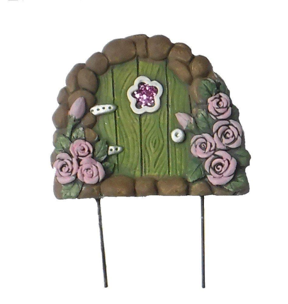 "Miniature elf gnome mini small Fairy Garden Enchanted Gnome tree home Door 5"" H (PINK ROSES GREEN DOOR)"