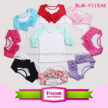 fac37fa2 Girls Icing Ruffle Tops Wholesale Baby Girls Ruffle Raglan Shirt 3/4 Sleeve  T Shirt
