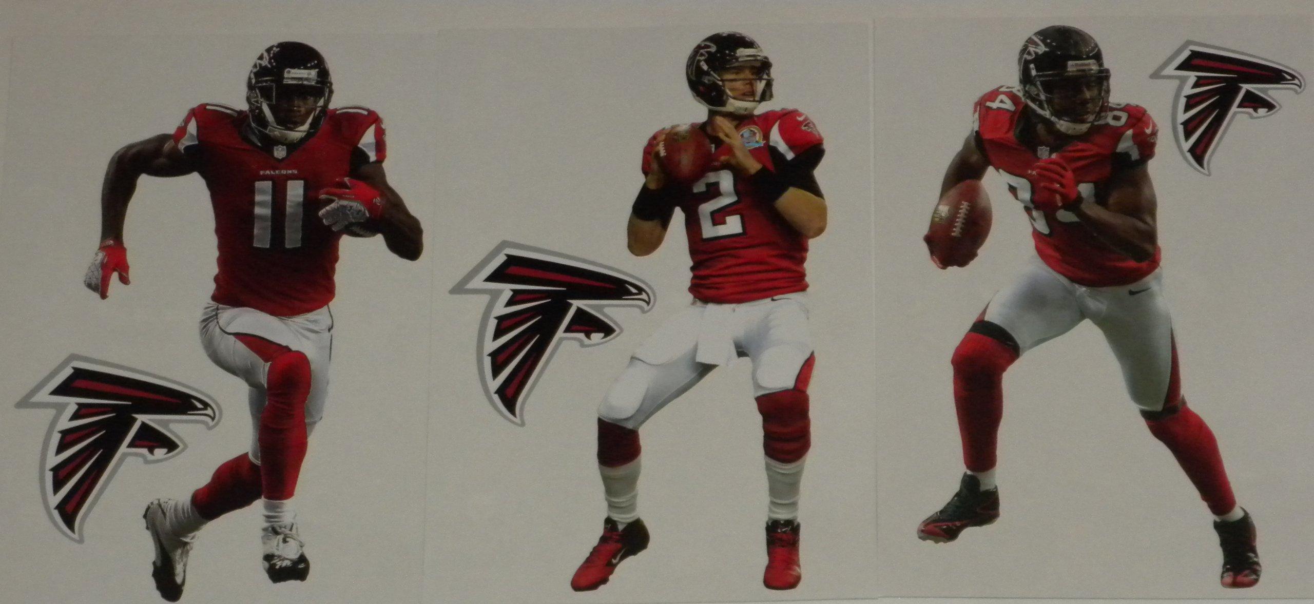 "Atlanta Falcons Mini FATHEAD Team Set of 6 Official Vinyl Wall Graphics (3 Players + 3 Falcons Logo) Each Player Graphic 7"" INCH"