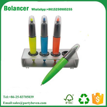 Multicolored ballpen stand /promotion plastic pen with holder with logo