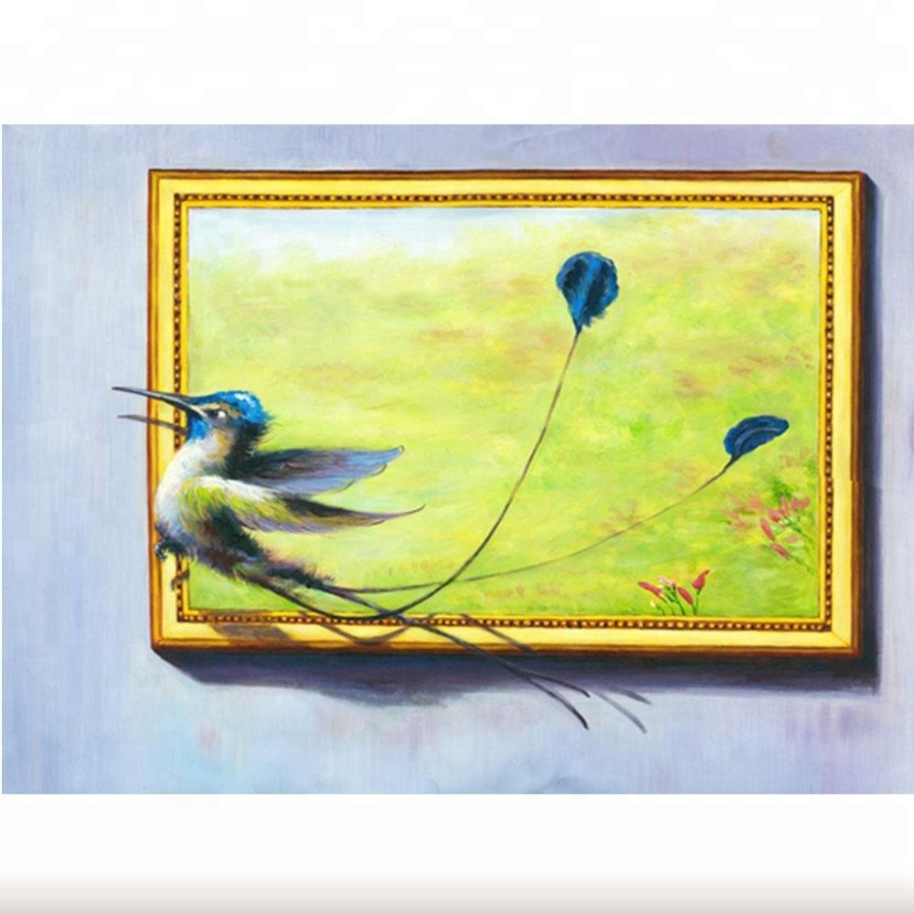 Abstract 3d Oil Painting Bird Wall Art Blue Feather Canvas Painting ...