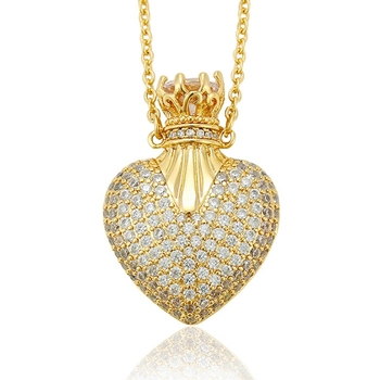 44253 Xuping crystal luxury plated 14k gold pendant necklace+female saudi gold crown heart locket necklace+pave diamond jewelry