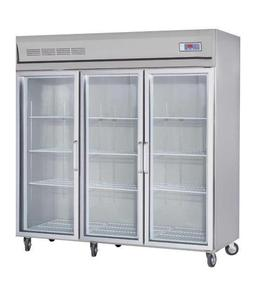 3 glass doors commercial stainless steels refrigerator