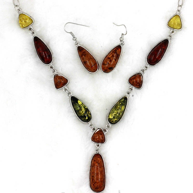 Queena Retro Imitation Amber Specialized Necklace Women Earrings Jewelry Sets