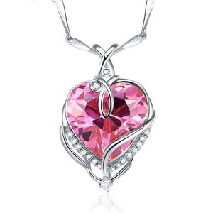 Valentine's Days Gift 925 Solid Silver Pink Zircon Heart Pendant For Girlfriend Wife