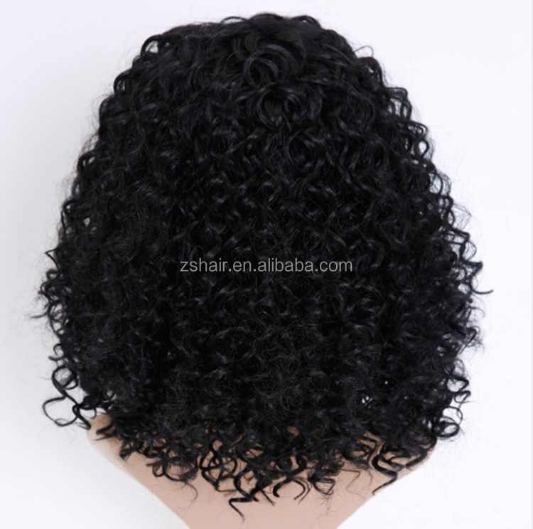 "2018 New Fashion Medium Neat Bang 8"" Shaggy Afro Kinky Curly Short Synthetic Wig"