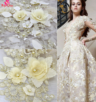 Wedding Dress 2017 3d Beaded Lace Fabric Bridal Lace Flower Lace  Embroidered Fabric