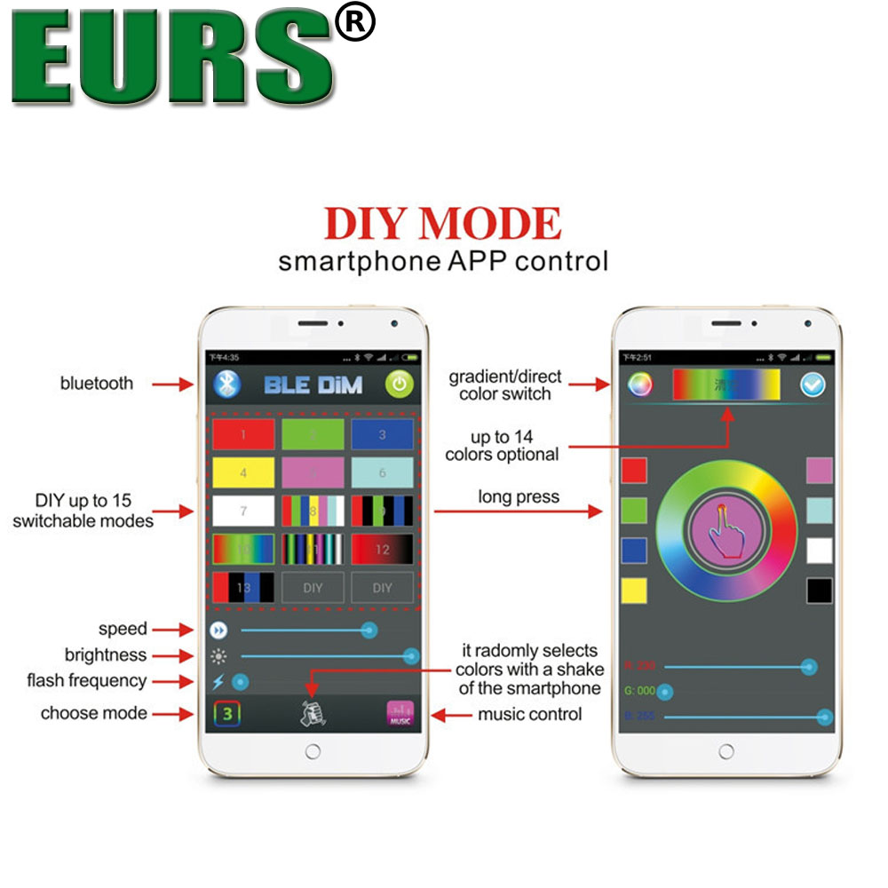 EURS 4pcs kit 36W decorate fash lights RGB rock light smartphone app control car led atmosphere lamp