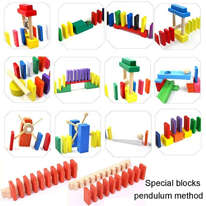 Rainbow Educational Learning Blocks Brick Game Custom Kid Wood Domino Set