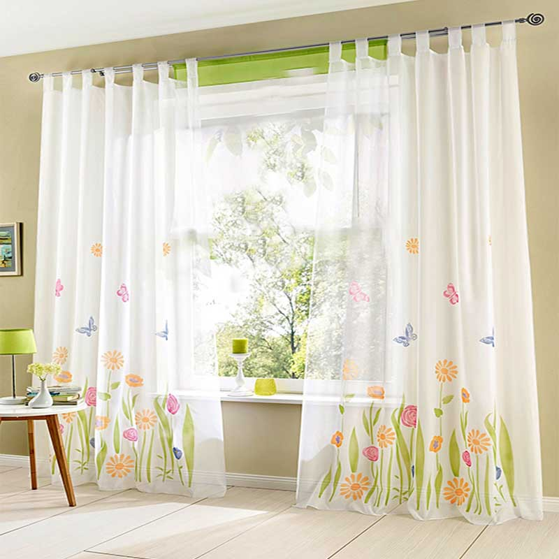 (1pc) Quality Butterfly Flower Sheer Curtains For Living