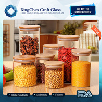 2017 new style SGS certified glass clip lid jars glass jar cosmetic