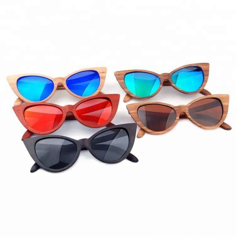 Hot Original Material 2018 Cat Eye Shape Wood or Bamboo Sunglasses