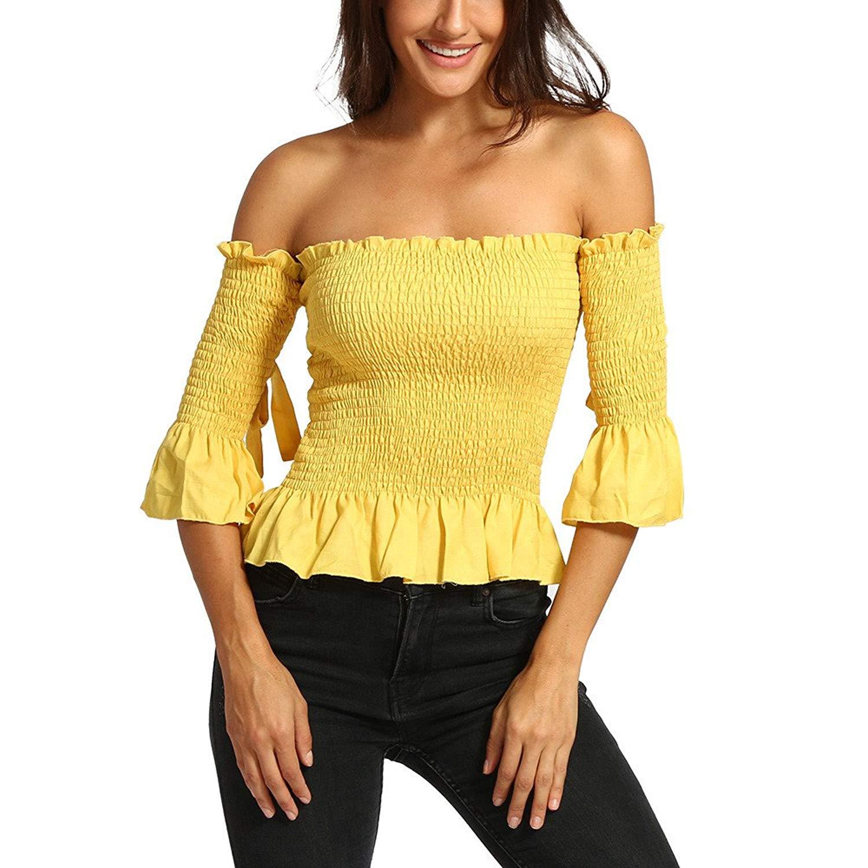 93cefd18e6 2018 Women Solid Tight Half Sleeve Shirt Slash Neck Backless Off Shoulder  Tops Blouse