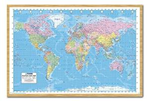 Buy world political map poster magnetic notice board silver framed iposters political world map 2013 poster magnetic notice board beech framed 965 x 66 cms approx 38 x 26 inches sciox Gallery