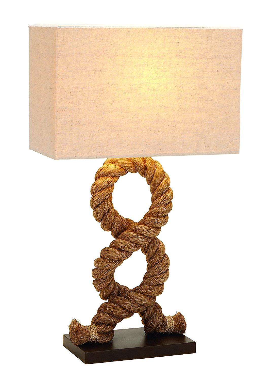 """Plutus Brands Designers Lamps Wood Metal Rope Pier Lamp, 28"""""""