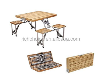 Tavoli Pieghevoli Da Pic Nic.Sedili Portatile Pieghevole In Legno Tavolo Da Picnic Con 4 Bench