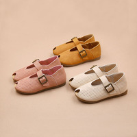 X60798A 2017 Autumn/Spring New Fashion Kids Shoes Leather Solid Hollow Casual Pretty Girls Shoes