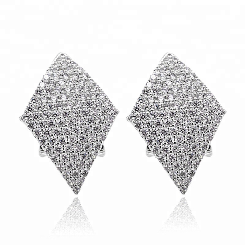 Fashion Silver Color Cubic Zirconia Diamond Stud Earrings For Women Rhombus Shape Clip Earring With 925 Silver Pin Ear Jewelry
