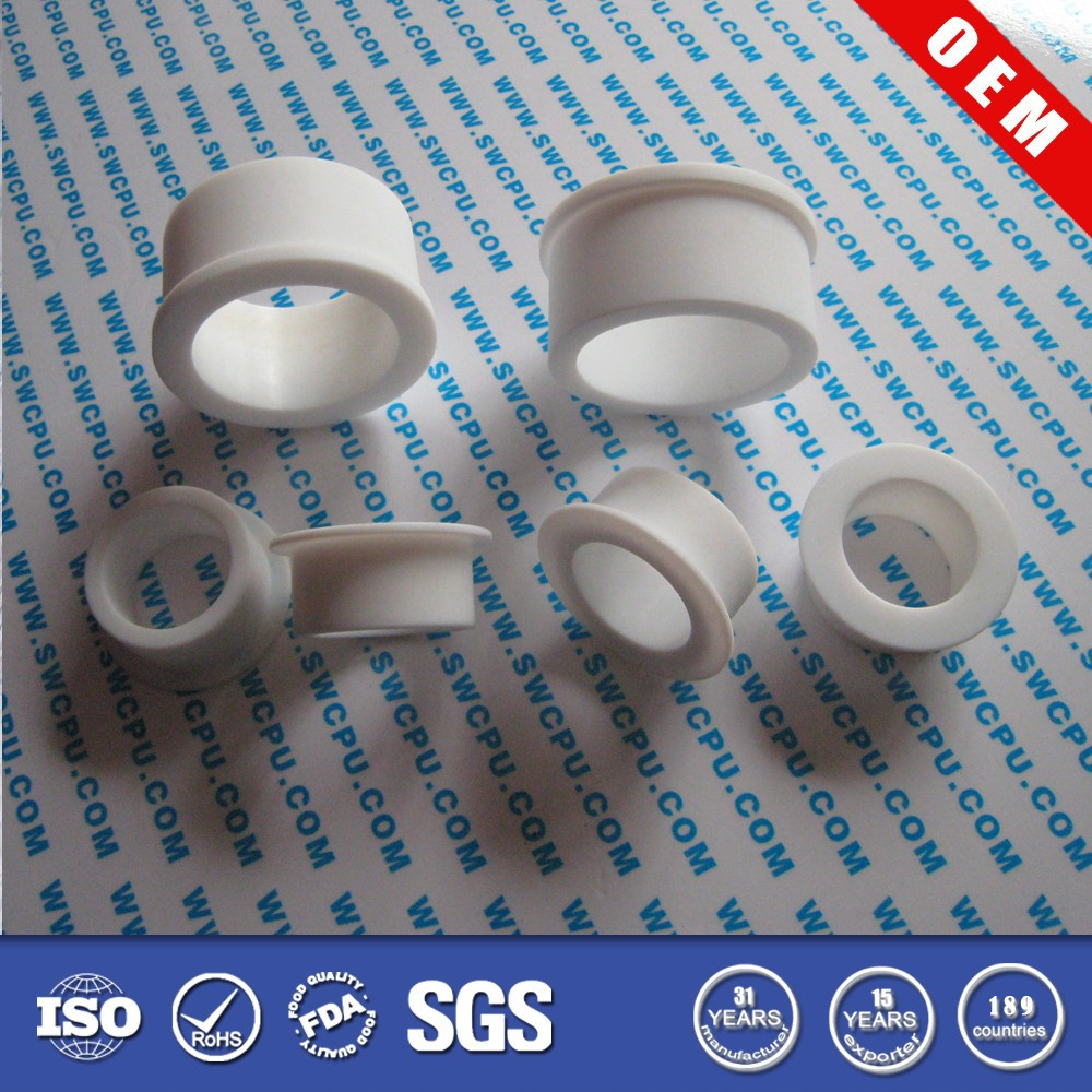White flanged teflon ptfe wall bushing