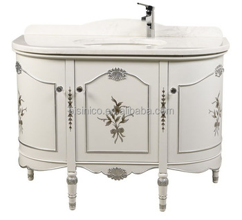 Semicycle Design Bathroom Cabinet Victoria Style Vanity With Marble Top Vintage Wooden Sanitary Ware Floor Standing