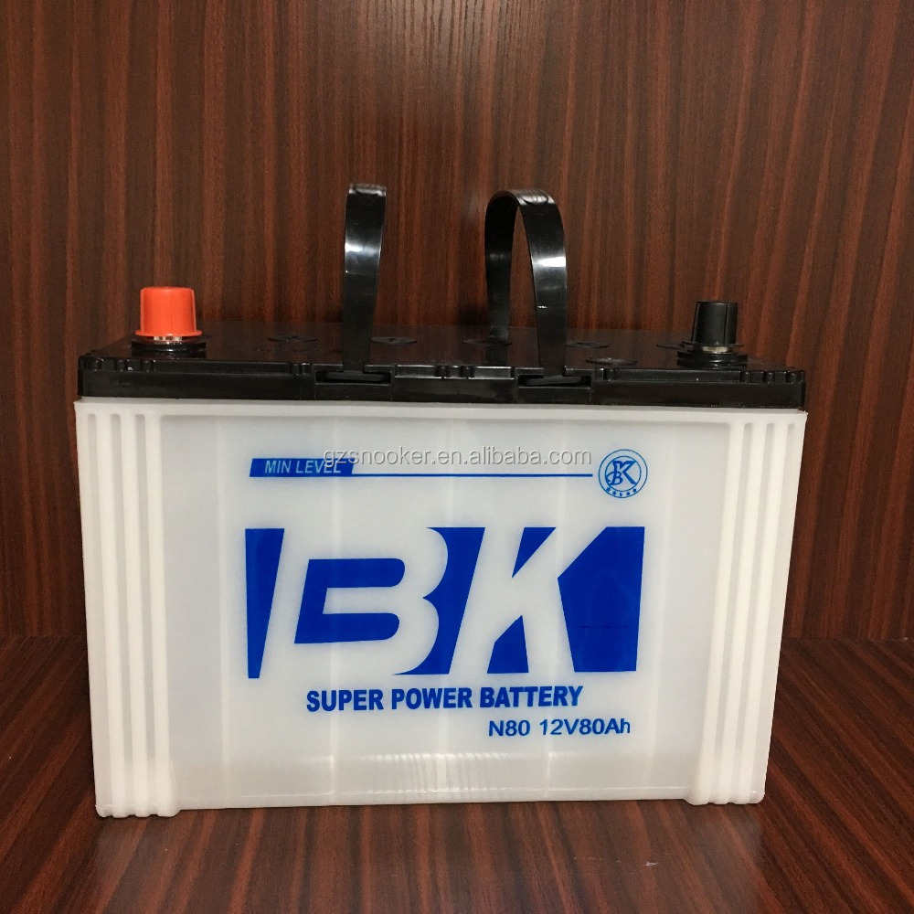 high quality manufacture 12V 80ah automotive truck car battery