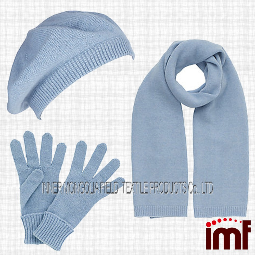 Chunky Knitted Beret Style Fashion Warm Winter Hat Scarf Glove Set ... fabb96150d4