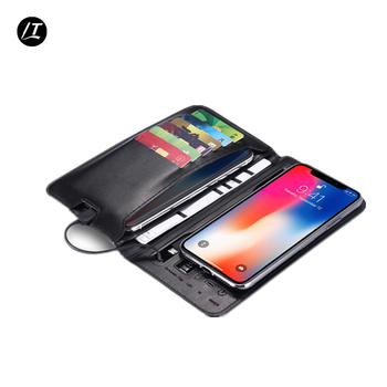 Black mens wallet with wireless charging power bank