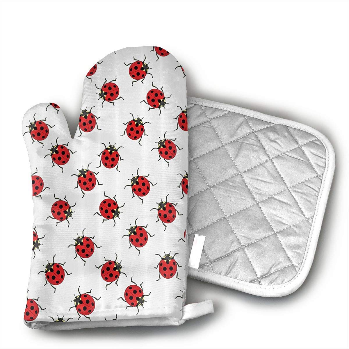 Ladybugs Oven Mitts Grilling Gloves Heat Resistant Gloves BBQ Kitchen Oven Mitts Long Waterproof Non-Slip Potholder for Barbecue Cooking Baking BBQ Gloves