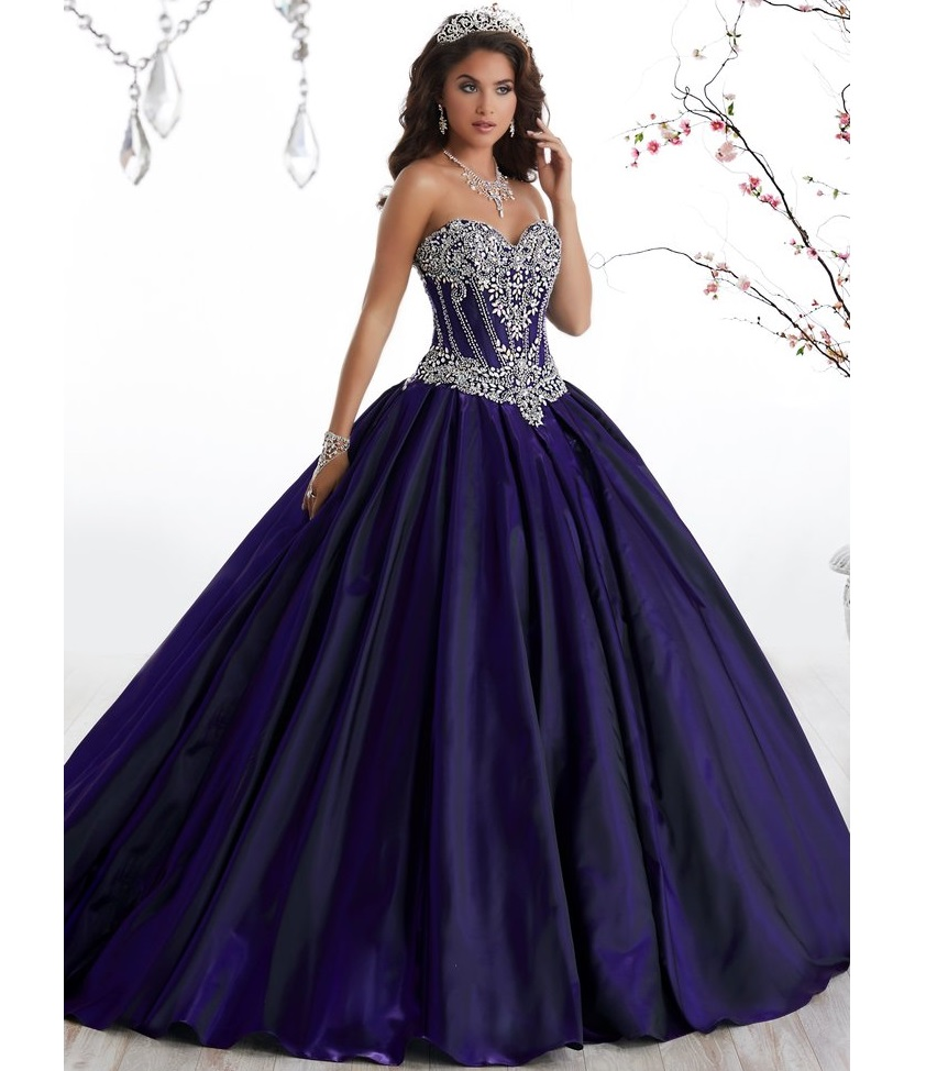 c3b126c6a0 Cuello dulce corazón sin tirantes vestidos de bola Azul Marino desnudo  tafetán con cuentas Rhinestone
