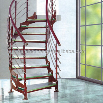 Factory Price Stainless Steel Portable Arc Stair Curve Staircase With  Timber Tread