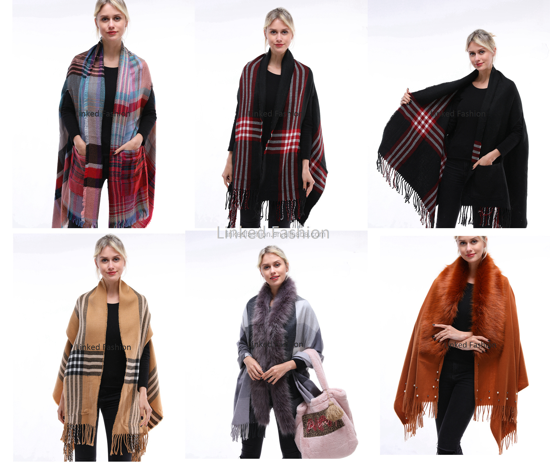 Popular ladies' faux fur warm scarves for winter