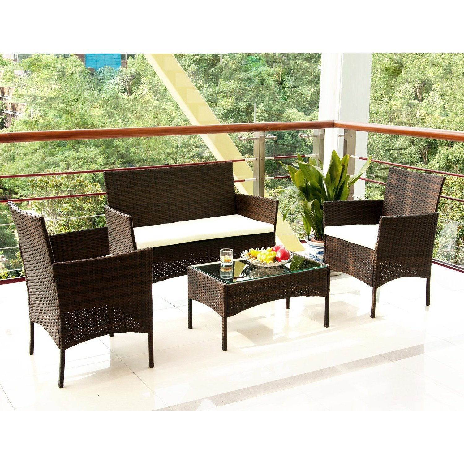 Outdoor Patio Furniture Set Cushioned 4 Pieces Wicker Patio Set Table, Two Chairs and a Loveseat Brown Finish and White Cushions Outdoor Furniture Lawn Rattan Garden Set