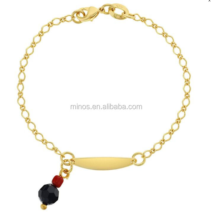 18k Gold Plated Stainless Steel Simulated Azabache Charm Id Baby Kids Bracelet