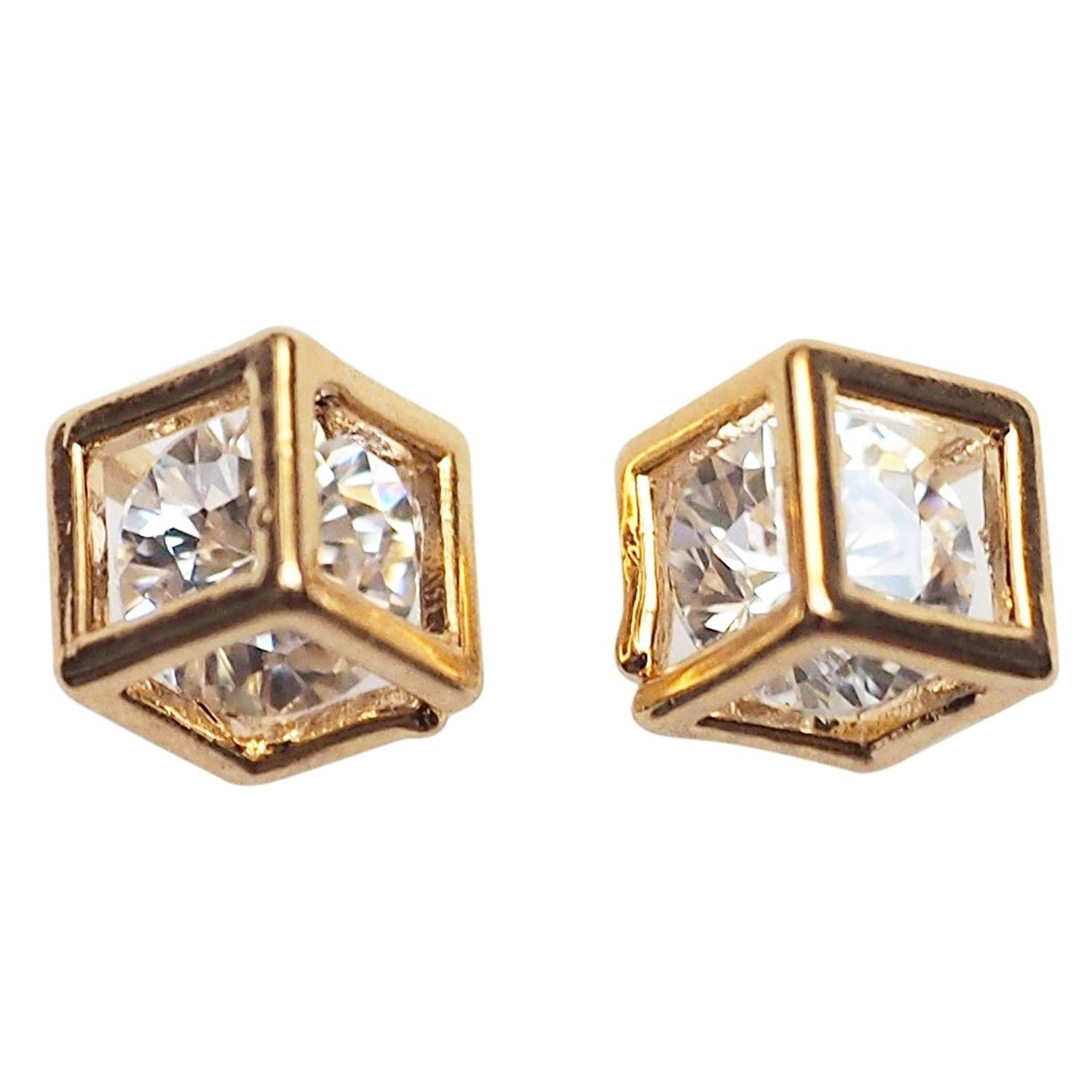 Miyabi Grace Women's Comfortable Stylish Cube Simple Cubic Zirconia Crystal Invisible Clip On Stud Earrings Gold tone