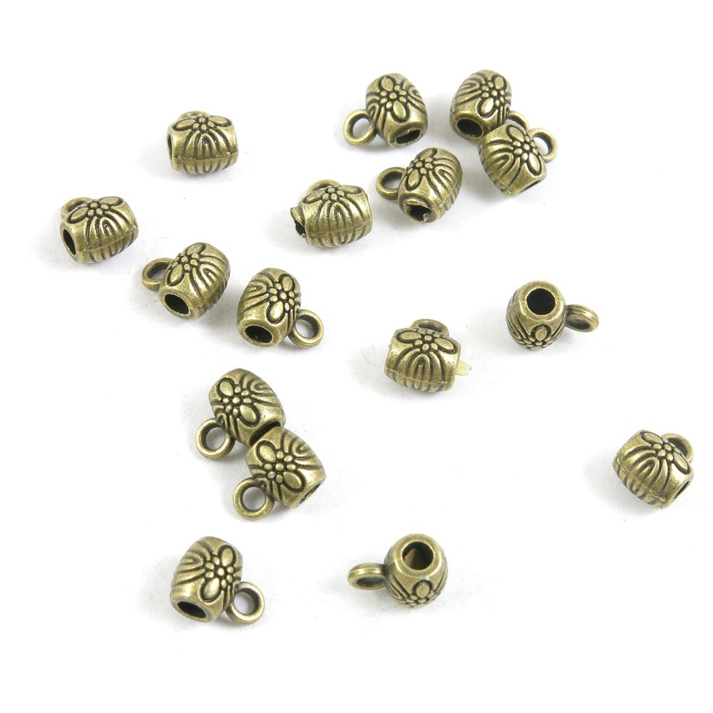 30 Pieces Antique Jewelry Making Supply Charms Findings Bronze Tone B4LU9 Flower Bead Bail Cord Ends