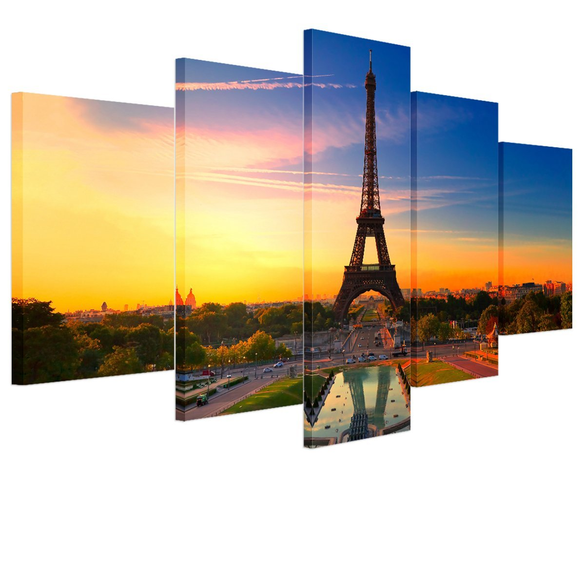 RAIN QUEEN The Eiffel Tower Oil Painting on Canvas, Large Landscape Paintings on Canvas, Hand made Portfolio Wall Art for Home Decoration (No Frame), 5 pcs/set 30*50cm*2, 30*70cm*2, 30*90cm*1
