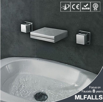 Square 3 Pieces Set Waterfall Spout Wall Mounted Double Handles Wash Sink Chrome Bathtub Faucet Bathroom