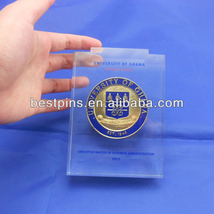 acrylic memorial of Ghana enamel challenge coin paper weight