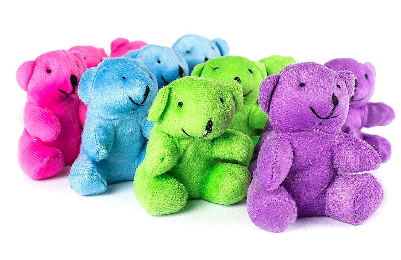 Neon Plush Bears Stuffed Animals Bulk 1 Dozen Assorted Stuffed Teddy Bears