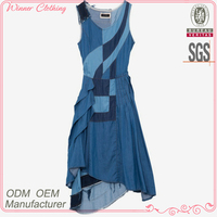 New fashion patch work 2014 women casual denim dresses
