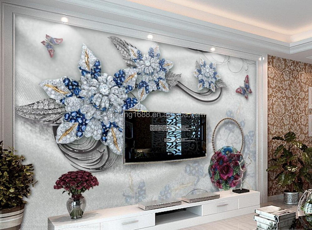Customize theme wallpaper suppliers blue flower jewelry for Mural jewellery