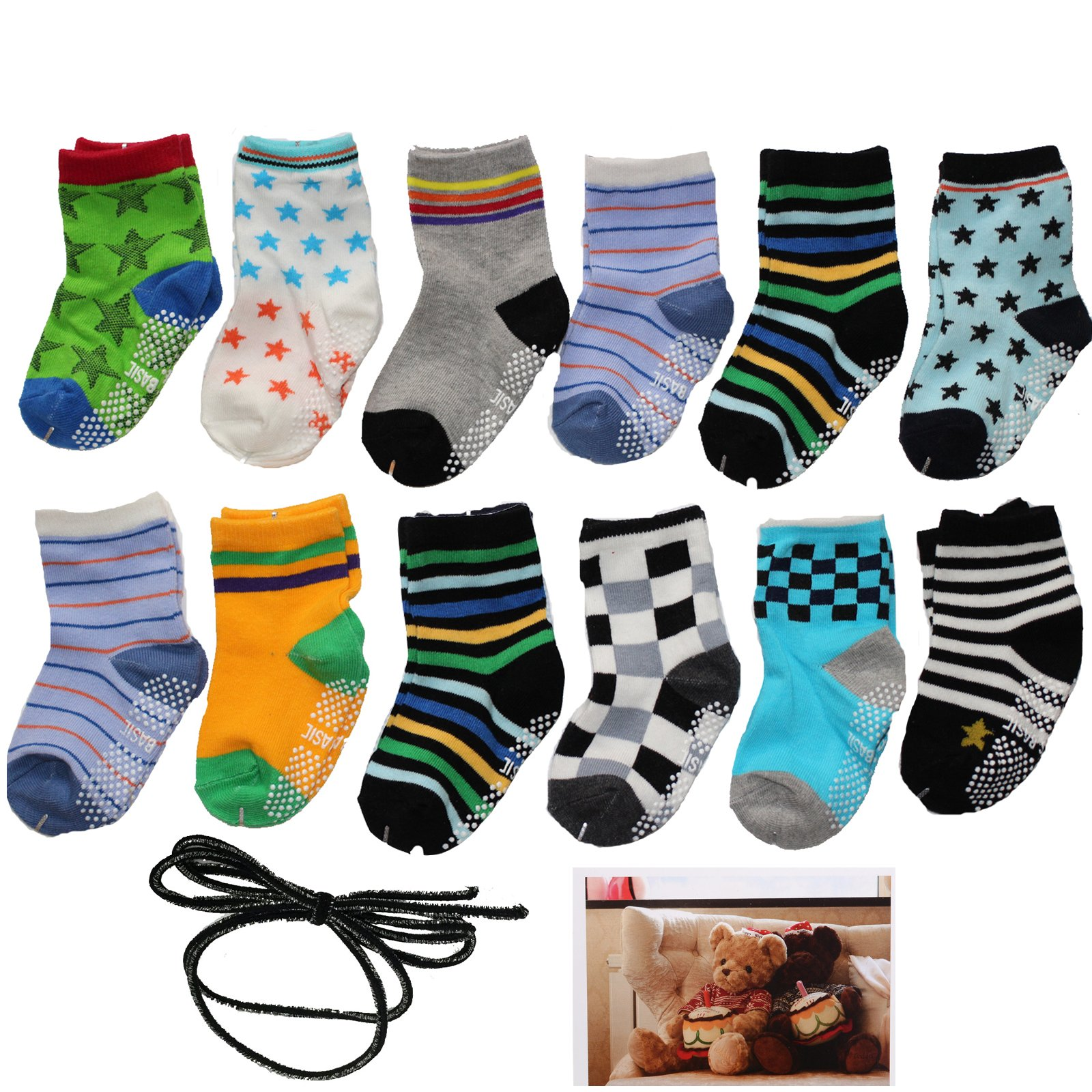 Yaobabymu 6 Pairs 16-36 Months Baby Boy's Girl's Non Skid Ankle Cotton Toddler Anti Skid Slip Slipper Stretch Knit Socks and Gift , Footsocks sneakers Socks,Length 10-12cm