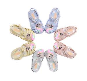 2018 Children cute jelly sandals hollow out New Unicorn kids jelly shoes Wholesale