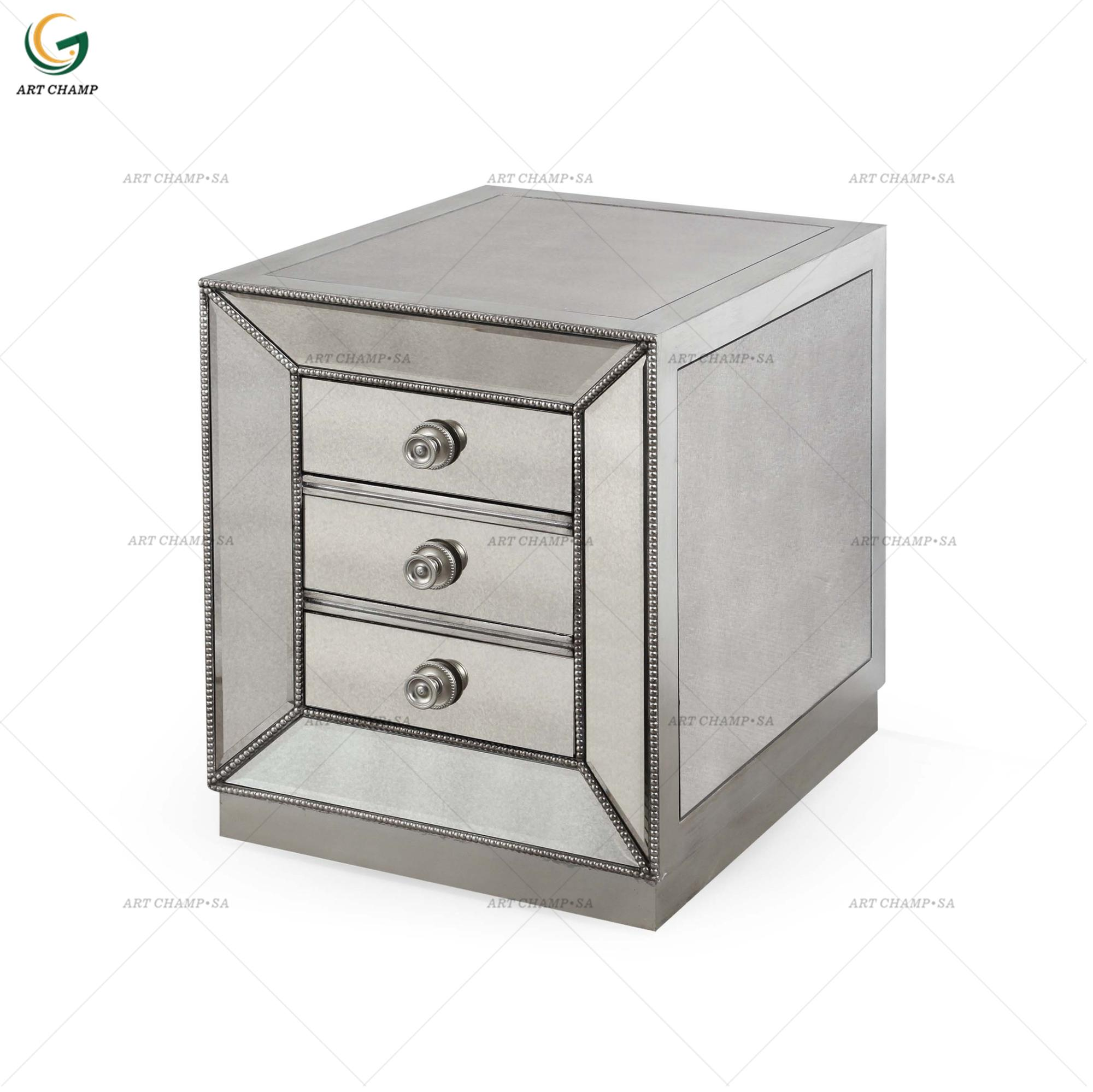 Silver Mirrored Glass Coffee 3 Drawer Wood Coffee End Table